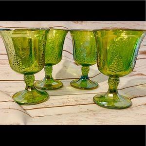 Vintage set of 4 Green Carnival Glasses